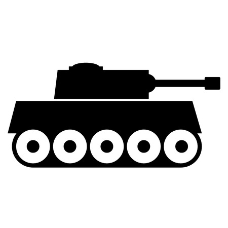 ww2: Panzer icon on white background. Vector illustration.