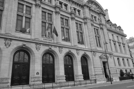 educational institution: Sorbonne educational institution in Paris, France. Black and white.
