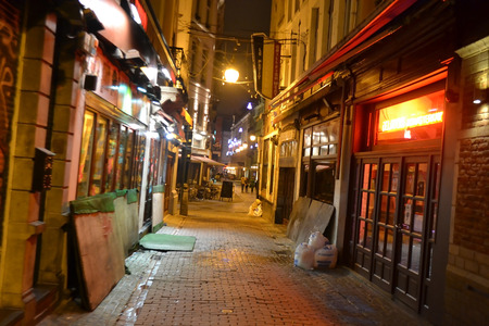 BRUSSELS, BELGIUM: JANUARY 8, 2013: Street in center of Brussels at night.