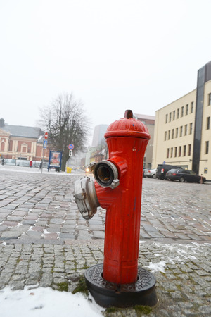 Fire hydrant in center of Klaipeda, Lithuania.