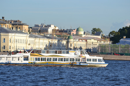 pleasure boat: ST.PETERSBURG, RUSSIA - AUGUST 29, 2013: Pleasure boat on the river Neva at summer evening. Editorial