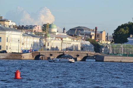 neva: View of embankment of Neva River in St.Petersburg, Russia. Stock Photo