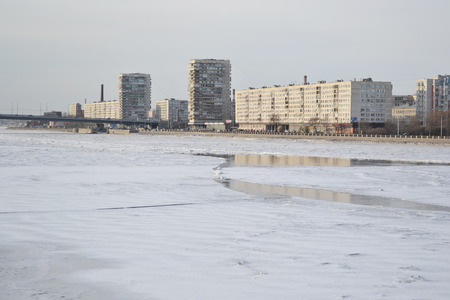 outskirts: View of Neva River on the outskirts of St. Petersburg at winter, Russia. Stock Photo