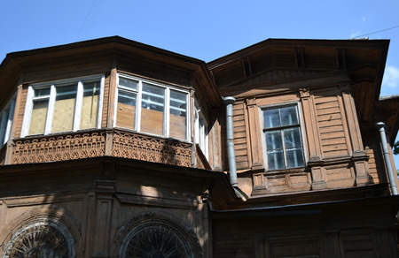 eclecticism: Old wooden abandoned buildind, Manor Gromov, Petrogradskaya side, St.Petersburg, Russia. Stock Photo