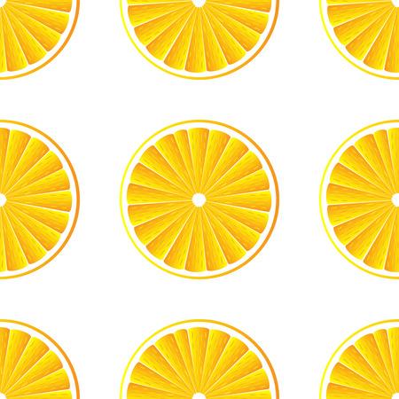 Orange slices vector background on white. Seamless pattern. Vector