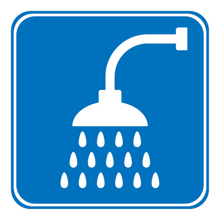 sanitary engineering: Shower icon on white background. Vector illustration. Illustration