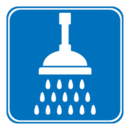 spigot: Shower icon on white background. Vector illustration. Illustration