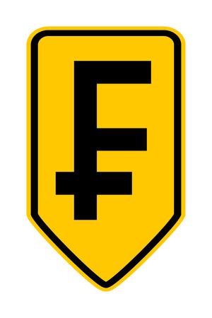 swiss franc: Swiss franc symbol button on white background. Vector illustration. Illustration