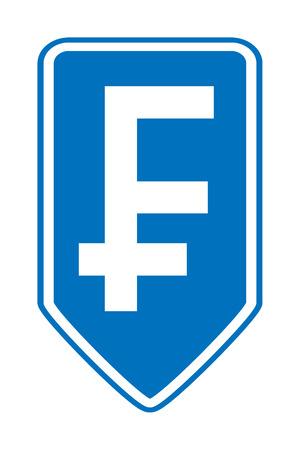 frank szwajcarski: Frank szwajcarski przycisk symbol na białym tle. Ilustracji wektorowych.