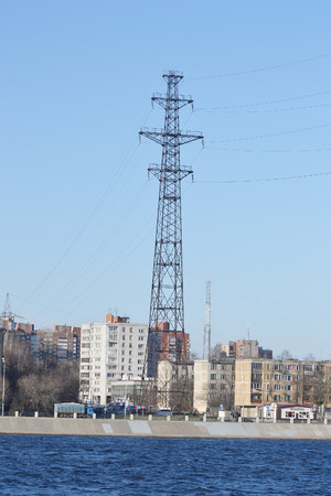 power line tower: October Embankment and power line tower on the outskirts of St. Petersburg, Russia.