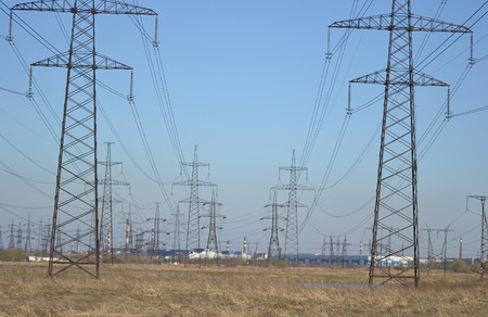 outskirts: Spring landscape with electricity pylons, outskirts of St. Petersburg, Russia.
