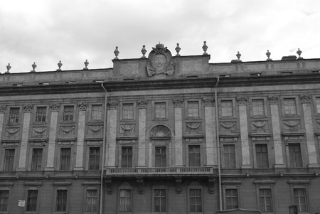 marble palace: The facade of Marble Palace in St.Petersburg, Russia. Black and white.