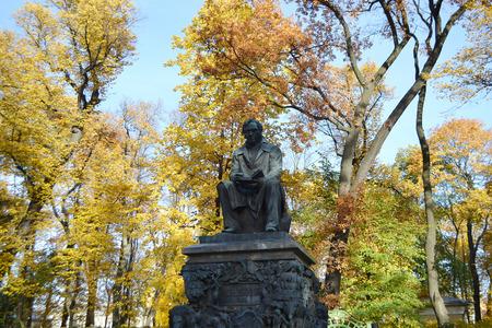 Krylov monument in Summer Garden, St.Petersburg, Russia.
