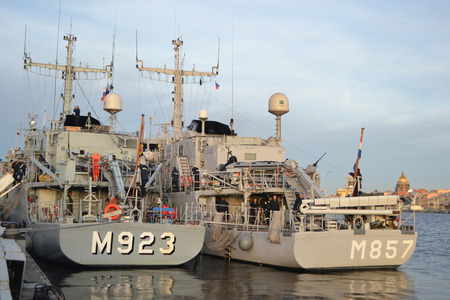 nato: ST.PETERSBURG, RUSSIA - OCTOBER 12, 2013: NATO warship on the waterfront in downtown St. Petersburg. Editorial