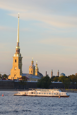pleasure craft: ST.PETERSBURG, RUSSIA - SEPTEMBER 7, 2013: Peter and Paul Fortress at evening, St.Petersburg, Russia. Editorial