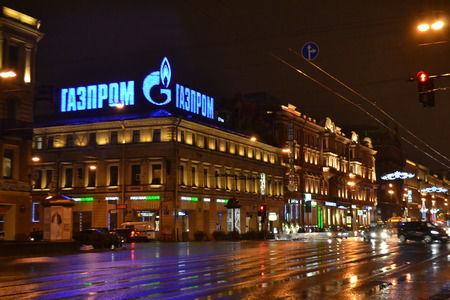 nevsky prospect: ST.PETERSBURG, RUSSIA - JANUARY 1, 2013: Nevsky Prospect main street of St. Petersburg at night.