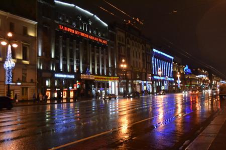 ST.PETERSBURG, RUSSIA - JANUARY 1, 2013: Nevsky Prospect main street of St. Petersburg at night.