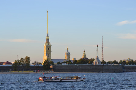 pleasure craft: Peter and Paul Fortress at evening, St.Petersburg, Russia. Editorial