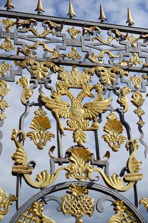 tsarskoye: Fragment of catherine palace gate in Tsarskoye Selo, suburb of St. Petersburg, Russia. Editorial