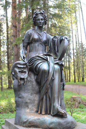ST.PETERSBURG, RUSSIA - MAY 13, 2012: Statue of a woman in Pavlovsk park, suburb of St. Petersburg.