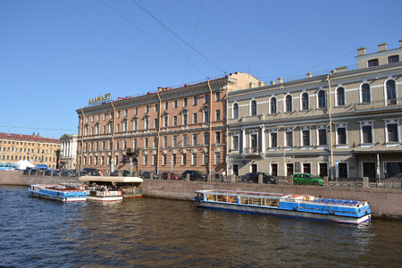 pleasure craft: ST.PETERSBURG, RUSSIA - 25 MAY, 2012: View of Moyka River in the center of St. Petersburg.