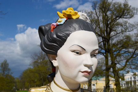 ST.PETERSBURG, RUSSIA - MAY 13, 2012: Statue of Chinese woman in Tsarskoye Selo, suburb of St. Petersburg.