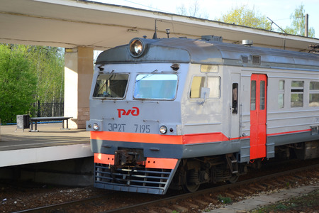 suburb: ST.PETERSBURG, RUSSIA - MAY 13, 2012: Suburban electric train on Pavlovsk station, suburb of St. Petersburg.