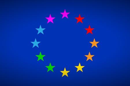 gay parade: European flag gay parade Europride. Vector illustration. Illustration