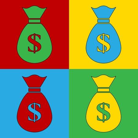andy warhol: Pop art money simbol icons. Vector illustration.