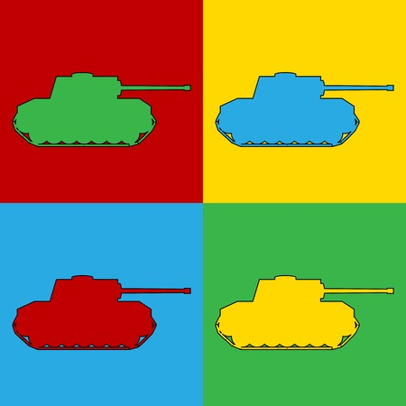 Pop art panzer simbol icons. Vector illustration. Vector