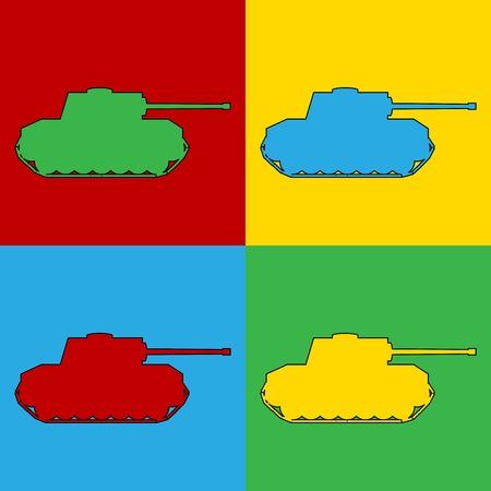 andy warhol: Pop art panzer simbol icons. Vector illustration. Illustration
