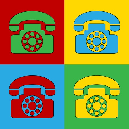 warhol: Pop art phone simbol icons. Vector illustration.