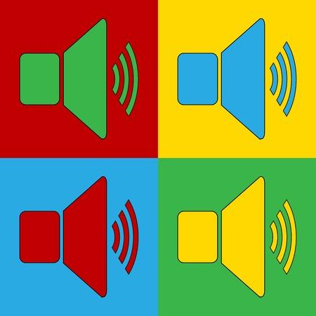 andy warhol: Pop art speaker volume simbol icons. Vector illustration.