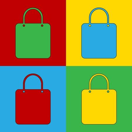 andy warhol: Pop art shopping bag simbol icons. Vector illustration.