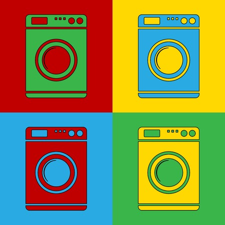 Pop art washing machine simbol icons. Vector illustration. Vector