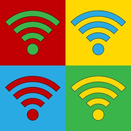 andy warhol: Pop art Wi Fi simbol icons. Vector illustration. Illustration