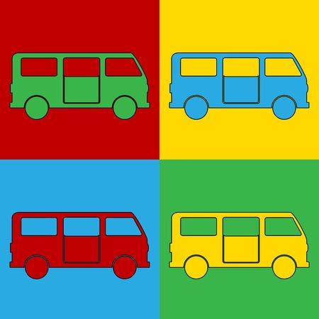 andy warhol: Pop art minibus symbol icons. Vector illustration.