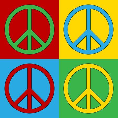 truce: Pop art peace symbol icons. Vector illustration.