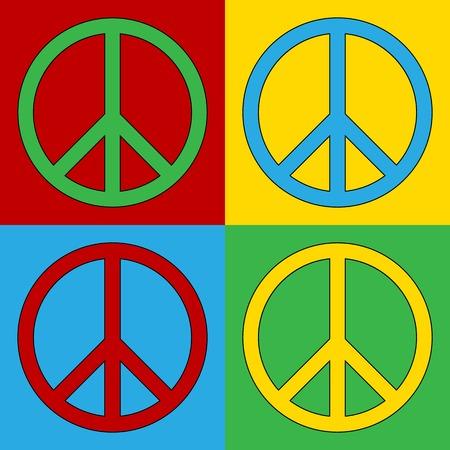 andy warhol: Pop art peace symbol icons. Vector illustration.