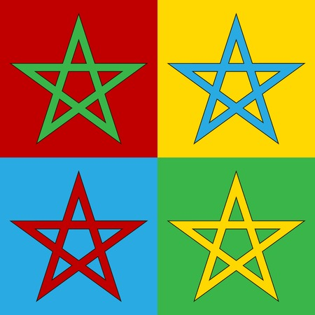 warhol: Pop art pentagram symbol icons.. Vector illustration.