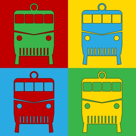 warhol: Pop art locomotive symbol icons. Vector illustration.