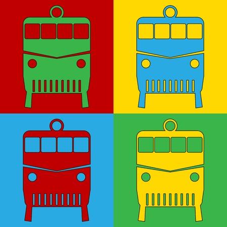 andy warhol: Pop art locomotive symbol icons. Vector illustration.