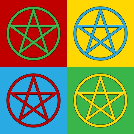 lucifer: Pop art pentagram symbol icons.. Vector illustration.