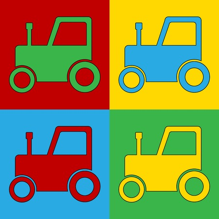 andy: Pop art tractor symbol icons. Vector illustration. Illustration