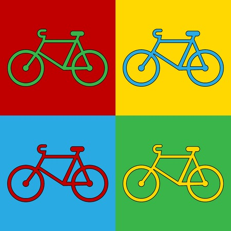 andy: Pop art bike symbol icons. Vector illustration.