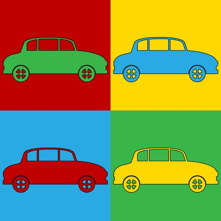 Pop art car symbol icons. Vector illustration.