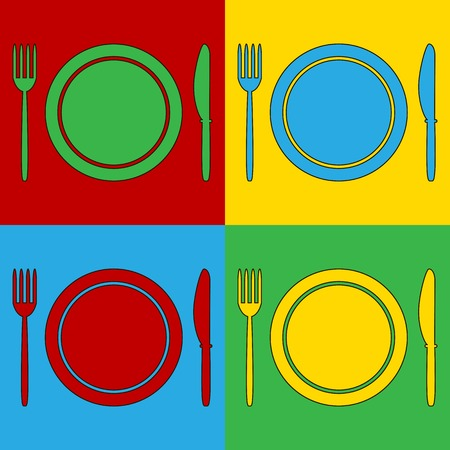 andy warhol: Pop art fork, plate and knife symbol icons. Vector illustration.