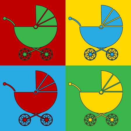 warhol: Pop art pram symbol icons. Vector illustration.