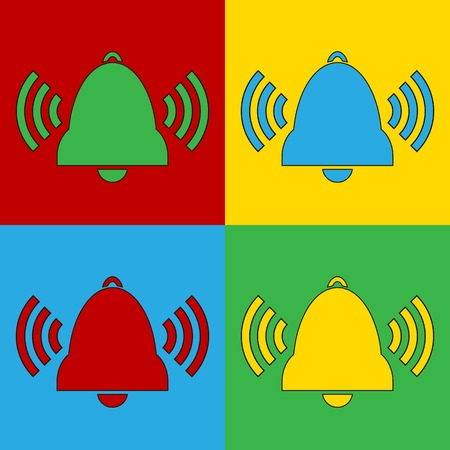 andy: Pop art bell symbol icons. Vector illustration.
