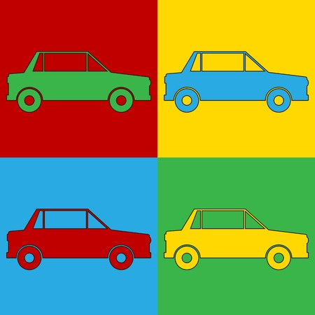 andy: Pop art car symbol icons. Vector illustration.